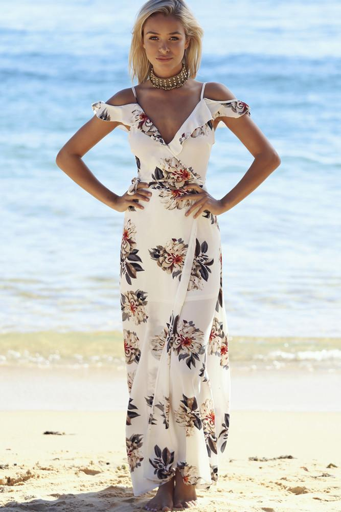 White Cutout Shoulders Floral Maxi Dress - BEHIND HEMLINES