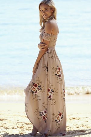 Beige Off Shoulder Floral Split Maxi - BEHIND HEMLINES