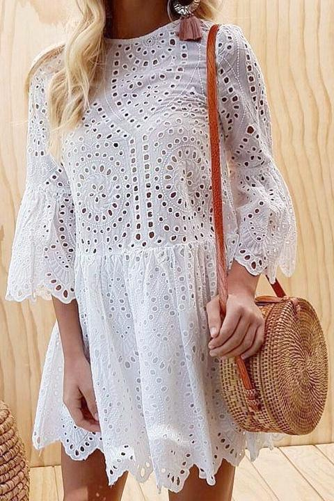 Eyelet Scallop-Hem Dress - BEHIND HEMLINES