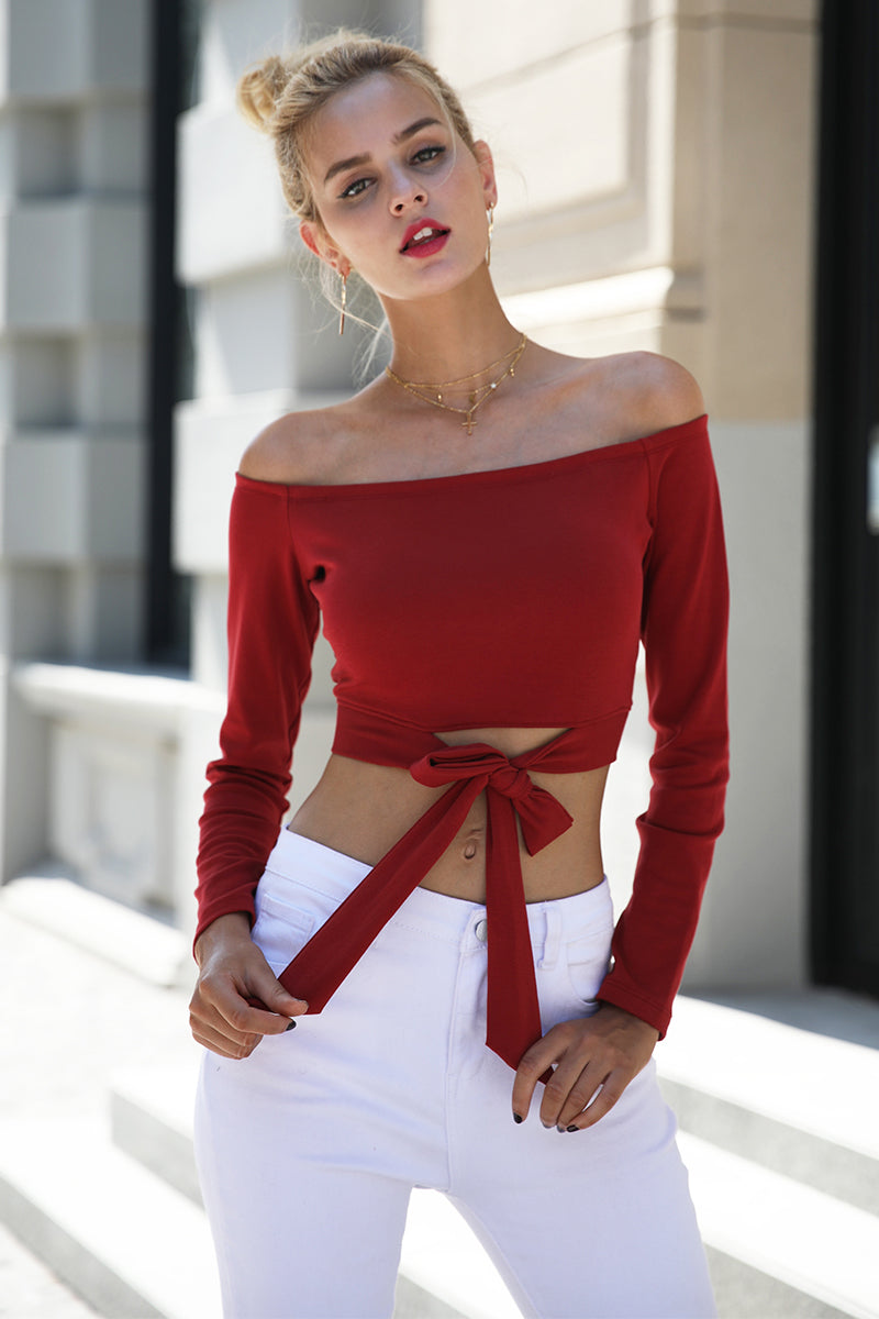 Off Shoulder Bow Waisted Cropped Top - BEHIND HEMLINES
