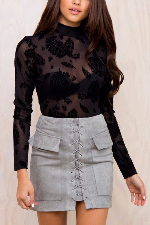 Grey Lace Up Suede Pocket Skirt - BEHIND HEMLINES