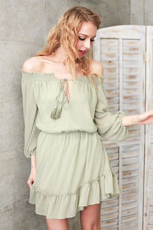 Off Shoulder Chiffon Dress - BEHIND HEMLINES