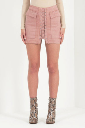Pink Lace Up Suede Pocket Skirt - BEHIND HEMLINES - 2