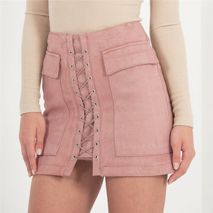 Pink Lace Up Suede Pocket Skirt - BEHIND HEMLINES - 3