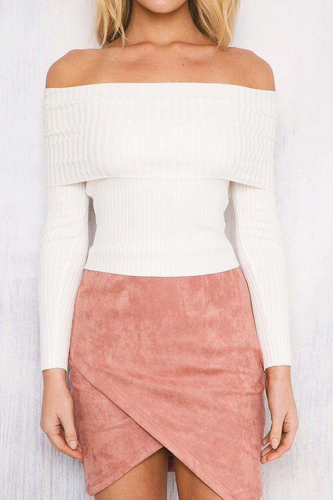 Off Shoulder Knitted Cropped Top - BEHIND HEMLINES - 2