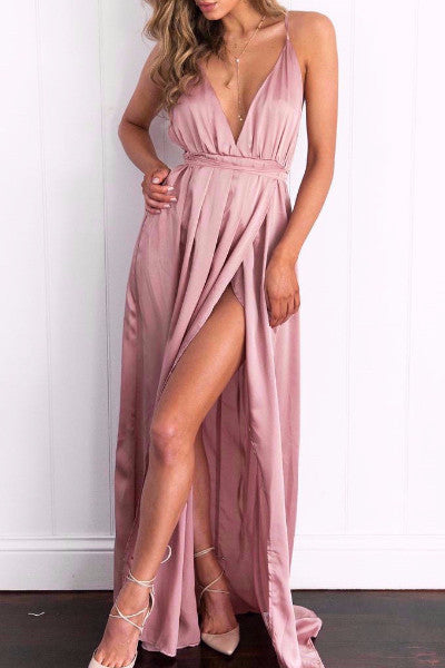 High Slit Satin Maxi Dress - BEHIND HEMLINES