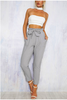 Grey Tie Waist Cropped Trousers - BEHIND HEMLINES - 1