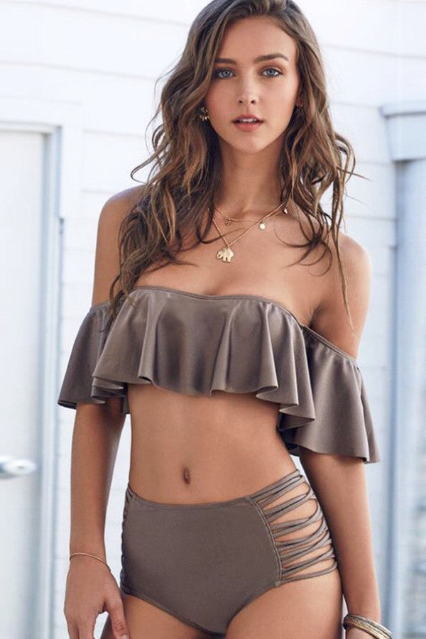 Ruffles Off Shoulder High Waist Bikini Set - BEHIND HEMLINES