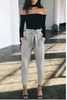 Grey Tie Waist Cropped Trousers - BEHIND HEMLINES - 2