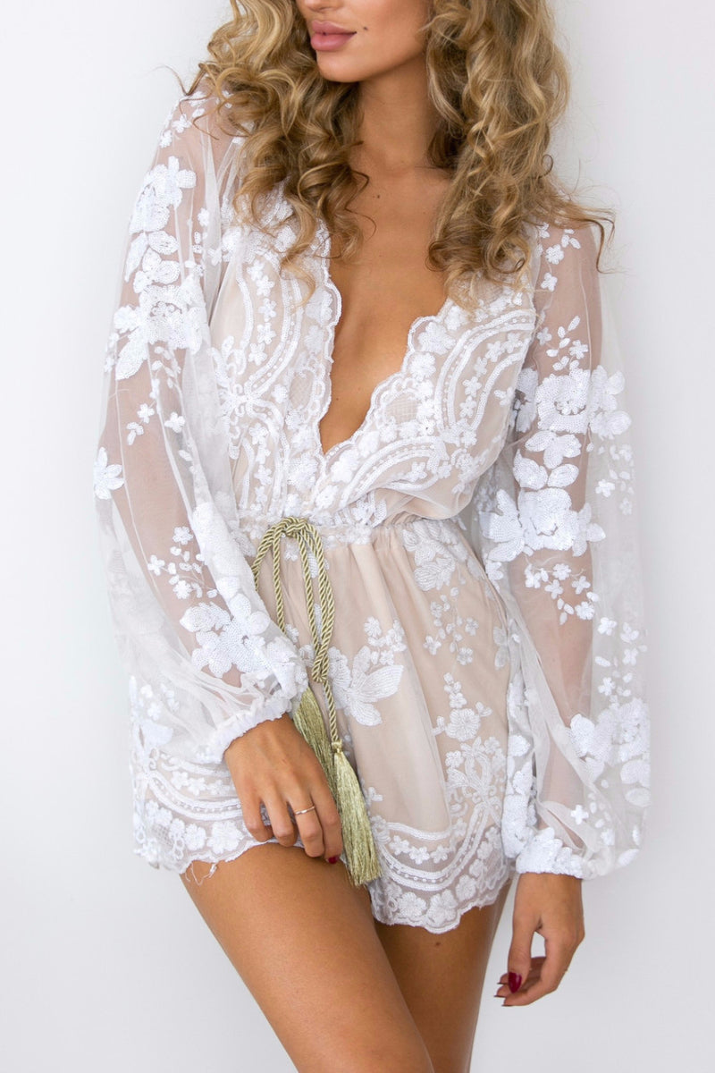 White Sequins and Mesh Romper - BEHIND HEMLINES