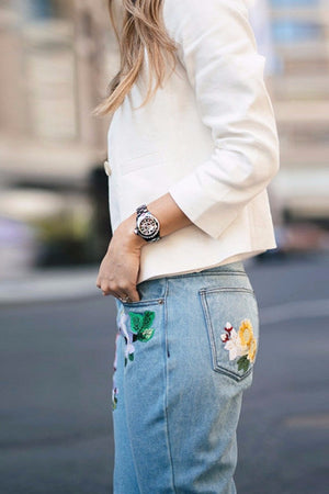 Floral Embroidery Denim Jeans - BEHIND HEMLINES