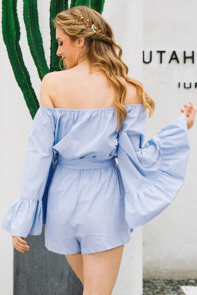 Blue Off Shoulder Flare Romper - BEHIND HEMLINES - 5