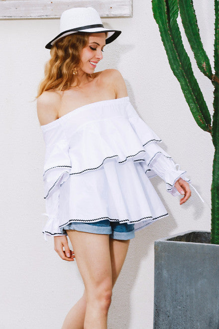 Off Shoulder Layered Ruffle Blouse - BEHIND HEMLINES - 4