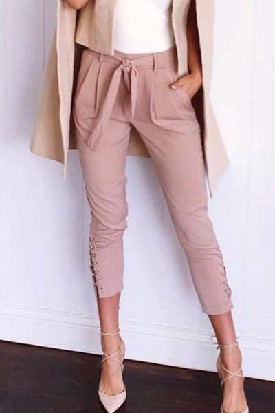 Laced Up Tie-Waist Cropped Trousers - BEHIND HEMLINES