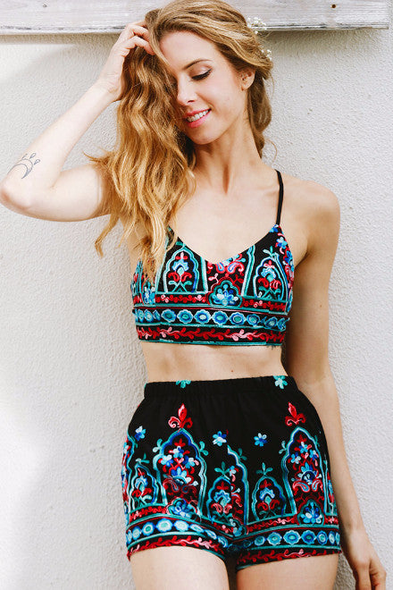 Two-Piece Embroidery Romper - BEHIND HEMLINES