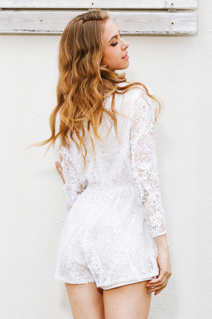 White Halter Laced Romper
