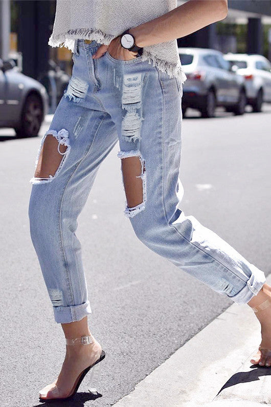 Ripped Cutout Denim Jeans - BEHIND HEMLINES