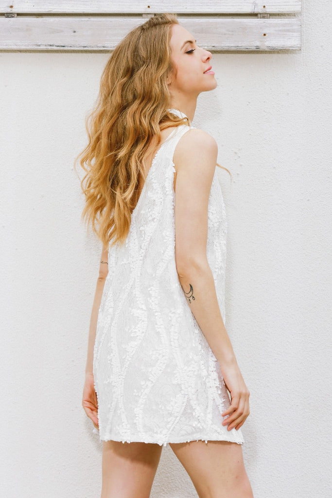 White V-Neck Sequined Lace Dress