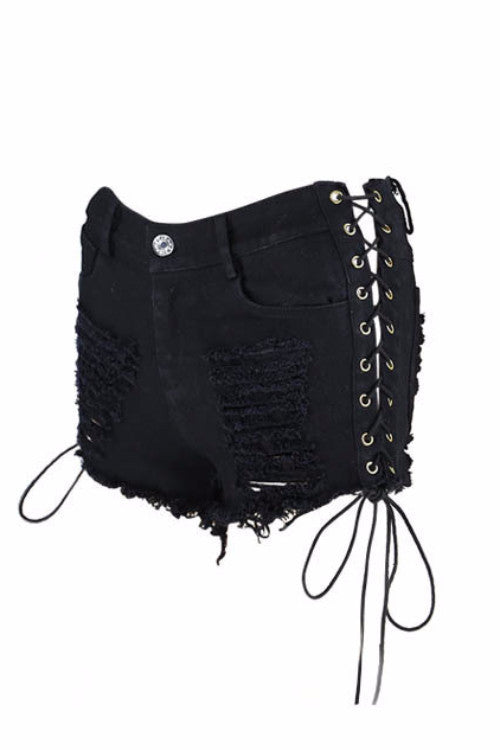 Black Laced Up Ripped Denim Shorts