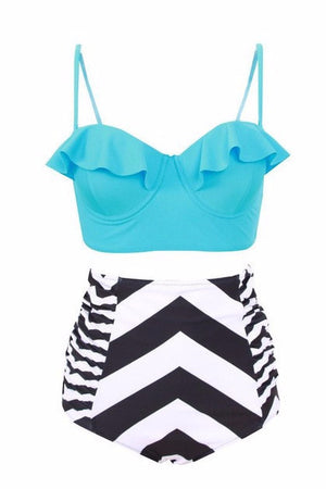Blue Chevon High Waisted Bikini - BEHIND HEMLINES