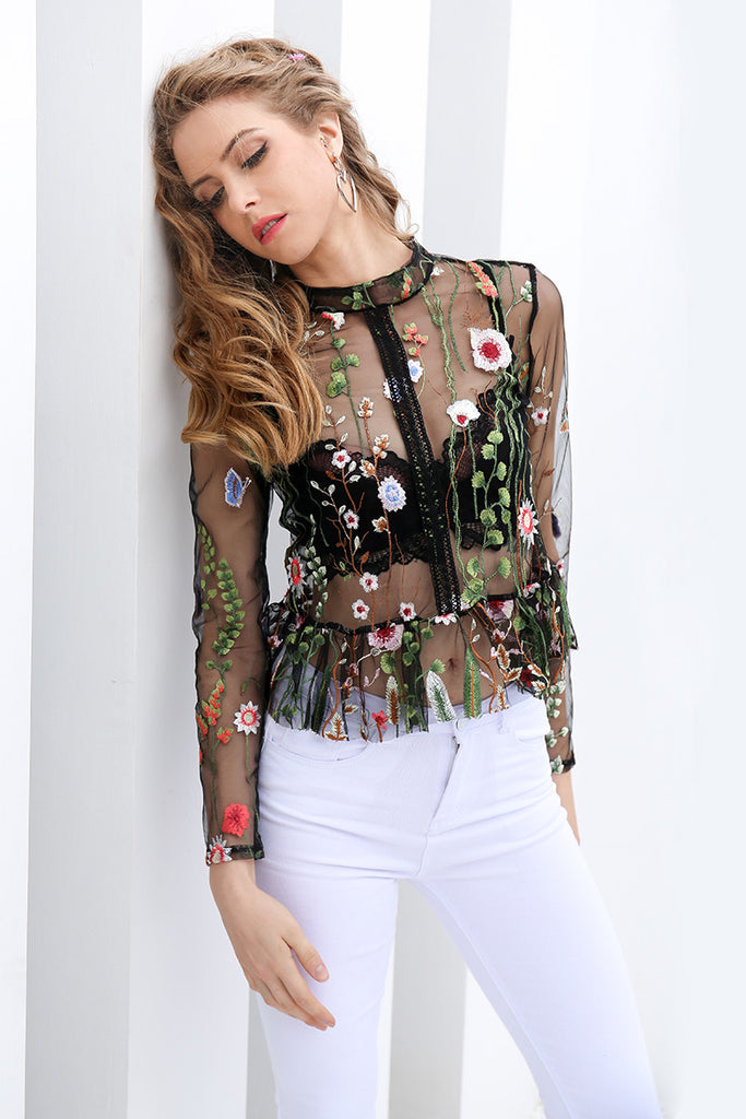 Floral Embroidery Mesh Long Sleeves Blouse