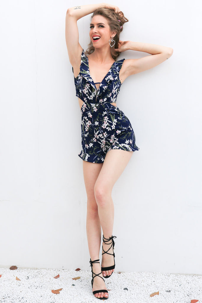 Ruffle Plunge Neck Tropical Playsuit