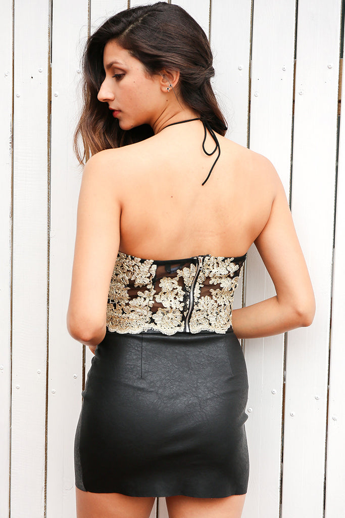 Black Halter Embroidered Lace Crop Top