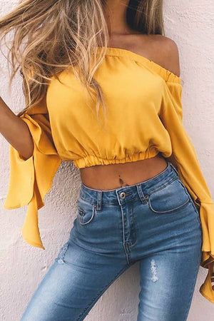Off Shoulder Longsleeves Crop Top - BEHIND HEMLINES