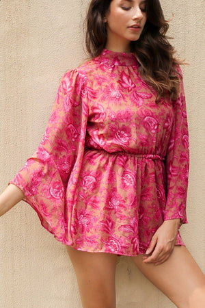 Pink Vintage High-Neck Floral Playsuit - BEHIND HEMLINES
