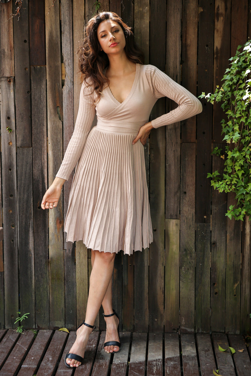Pleated V-Neck Dress - BEHIND HEMLINES