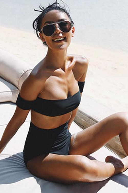 High Waist Off Shoulder Bandeau Swimwear - BEHIND HEMLINES