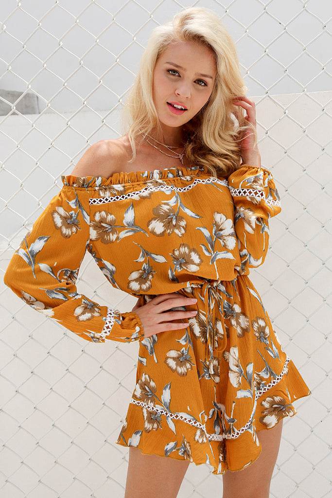 Mustard Floral Off Shoulder Playsuit