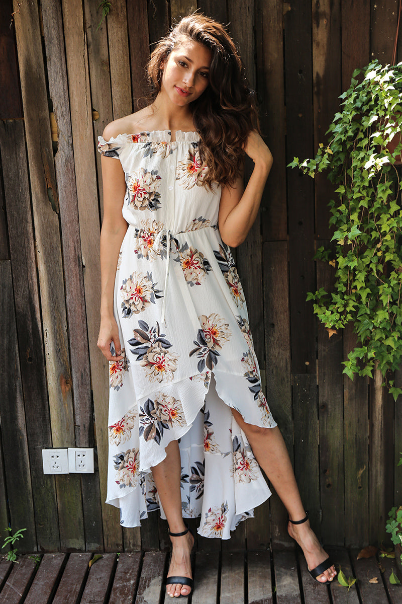 White Off Shoulder Midi Dress - BEHIND HEMLINES