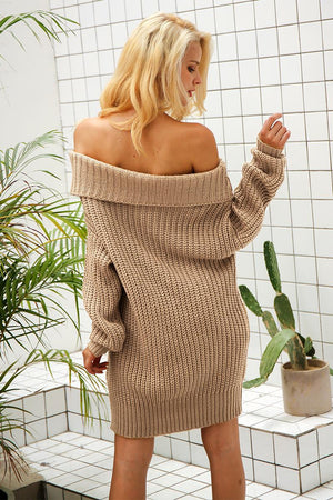 Baggy Off Shoulder Knitted Dress - BEHIND HEMLINES