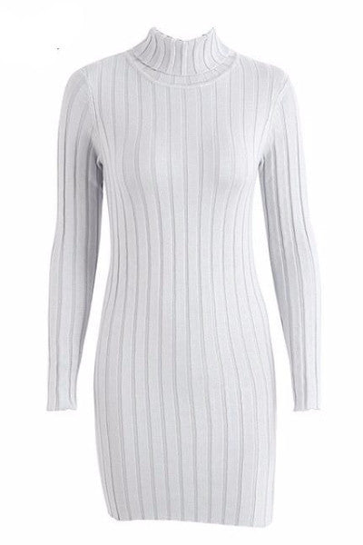Turtleneck Knitted Longsleeves Dress