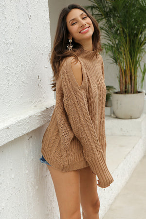 Cold Shoulder High Neck Sweater - BEHIND HEMLINES