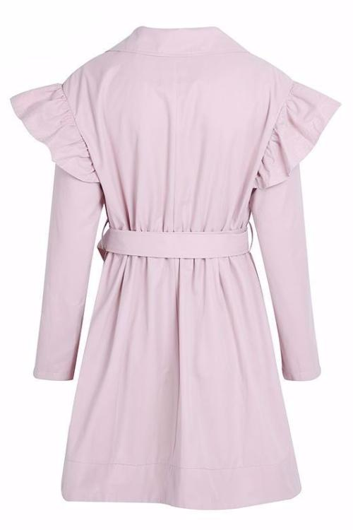 Pastel Pink Ruffle Trench Coat