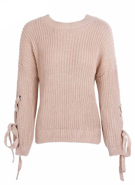 Crisscross Sleeve Knitted Sweater