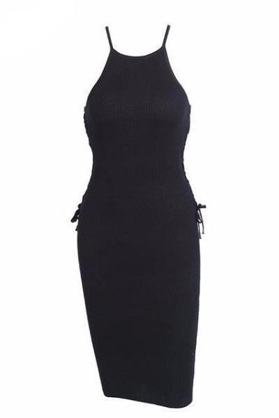 Knitted Bodycon Side Laced Dress
