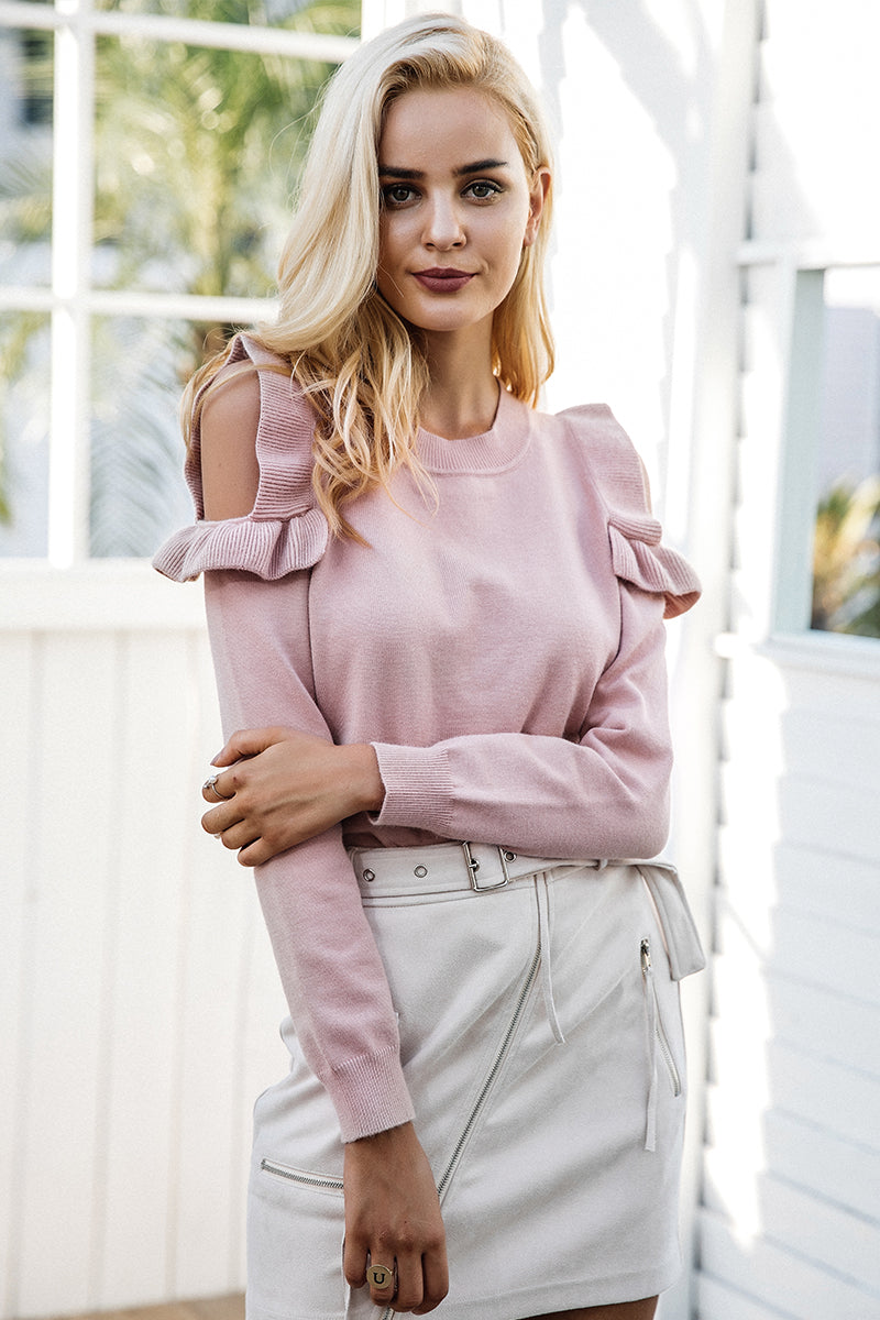 Ruffle Cold Shoulder Long Sleeve Sweater - BEHIND HEMLINES