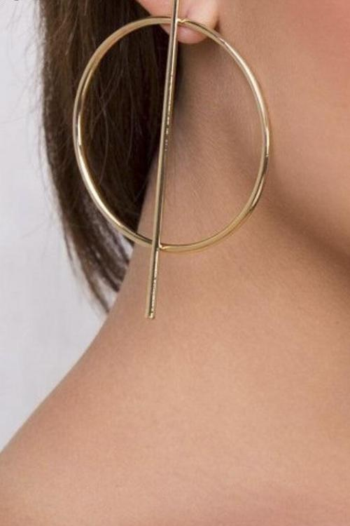 Hollow Out Hoop & Bar Earring