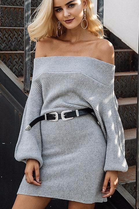 Off Shoulder Knitted Dress
