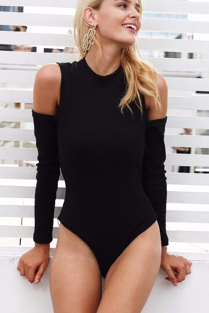 Cold Shoulder Basic Knitted Bodysuit - BEHIND HEMLINES
