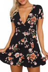 Black Floral V-Neck Dress - BEHIND HEMLINES