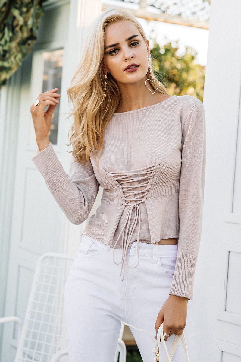 Corset Inspired Knitted Blouse - BEHIND HEMLINES
