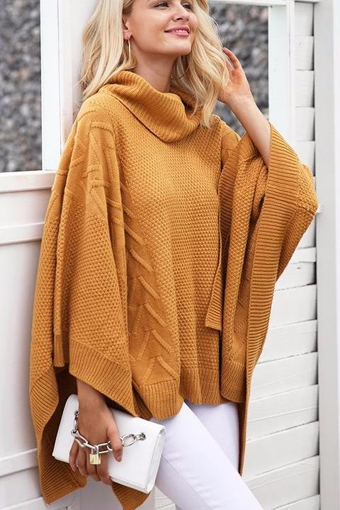 Turtleneck Poncho Sweater - BEHIND HEMLINES
