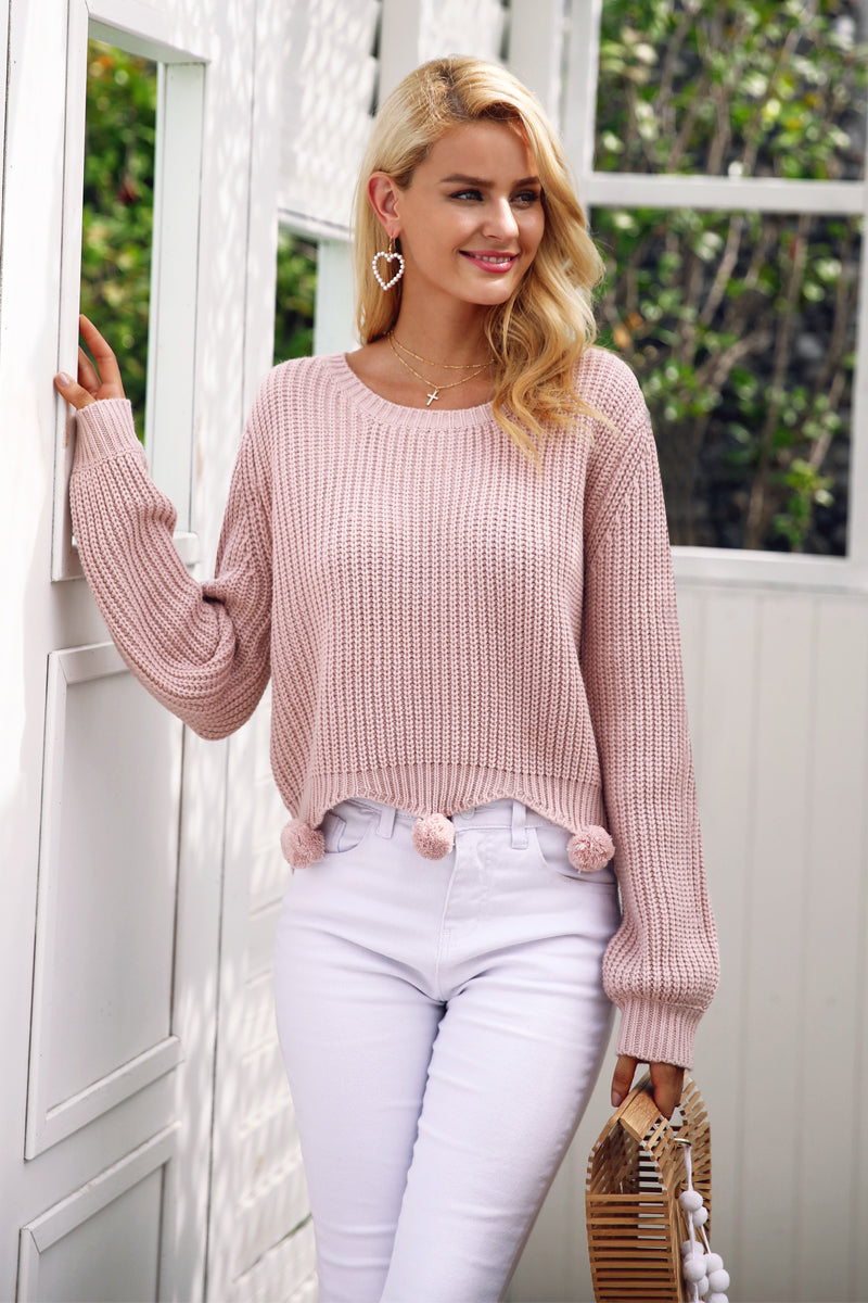Pom Balls Knitted Sweater - BEHIND HEMLINES