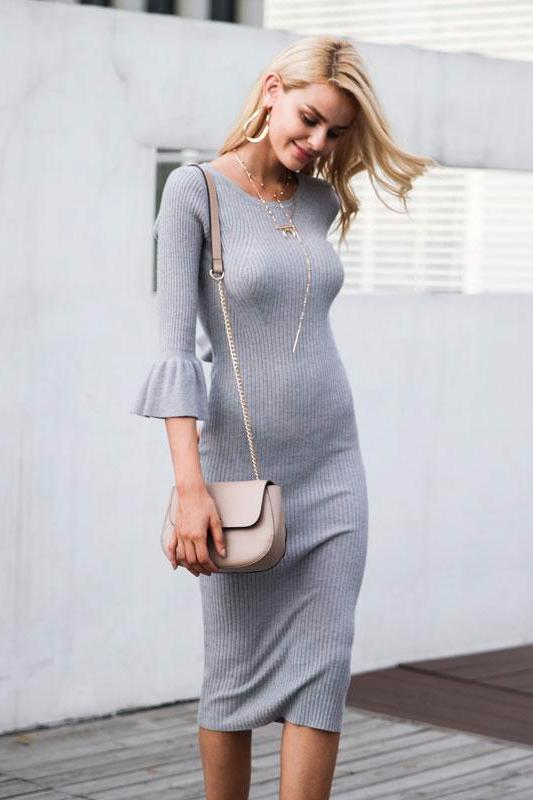 Knitted Bodycon Midi Dress - BEHIND HEMLINES