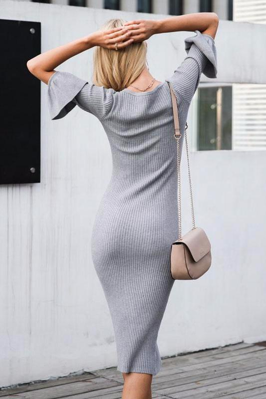 Knitted Bodycon Midi Dress
