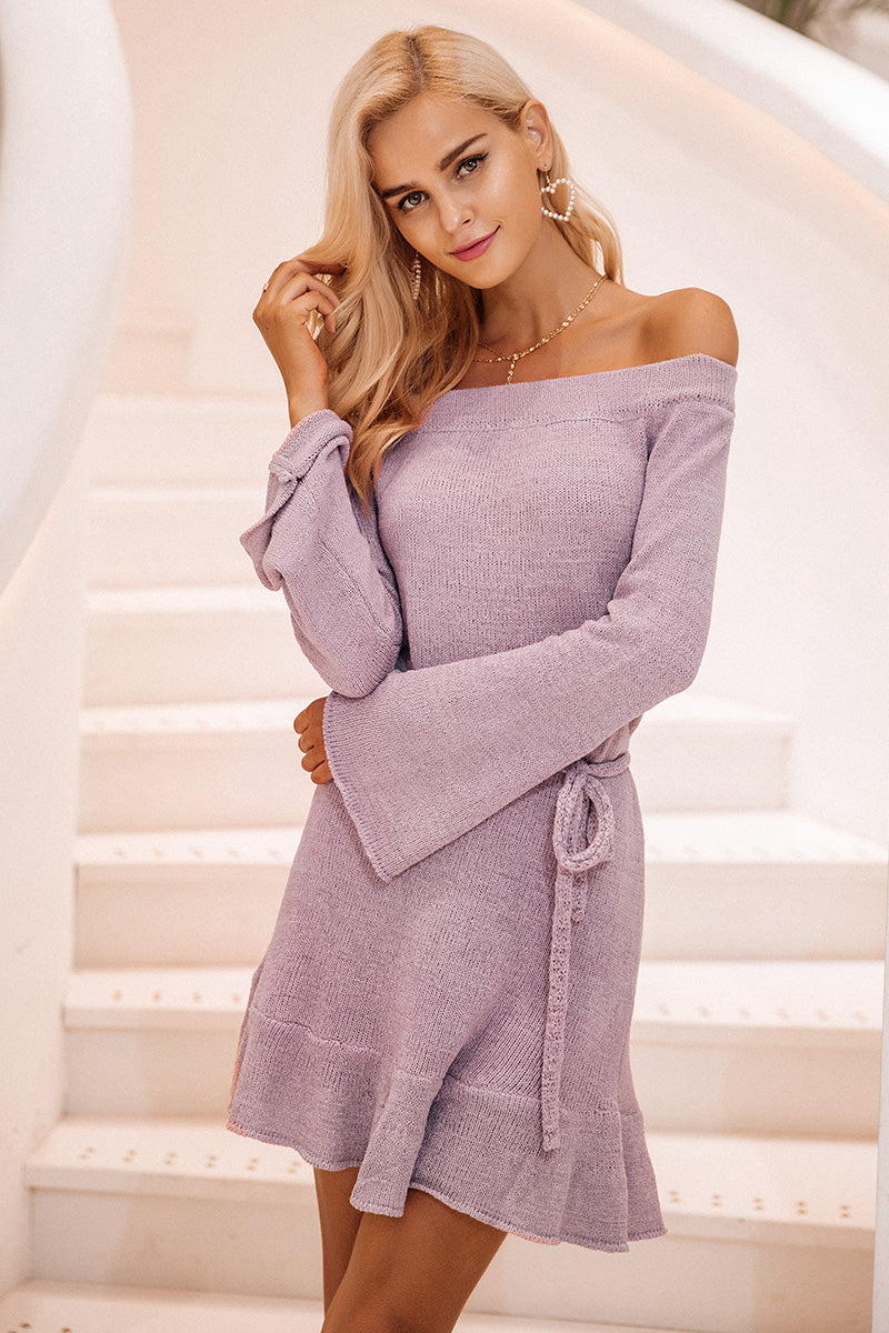 Off Shoulder Knitted Flare Dress - BEHIND HEMLINES